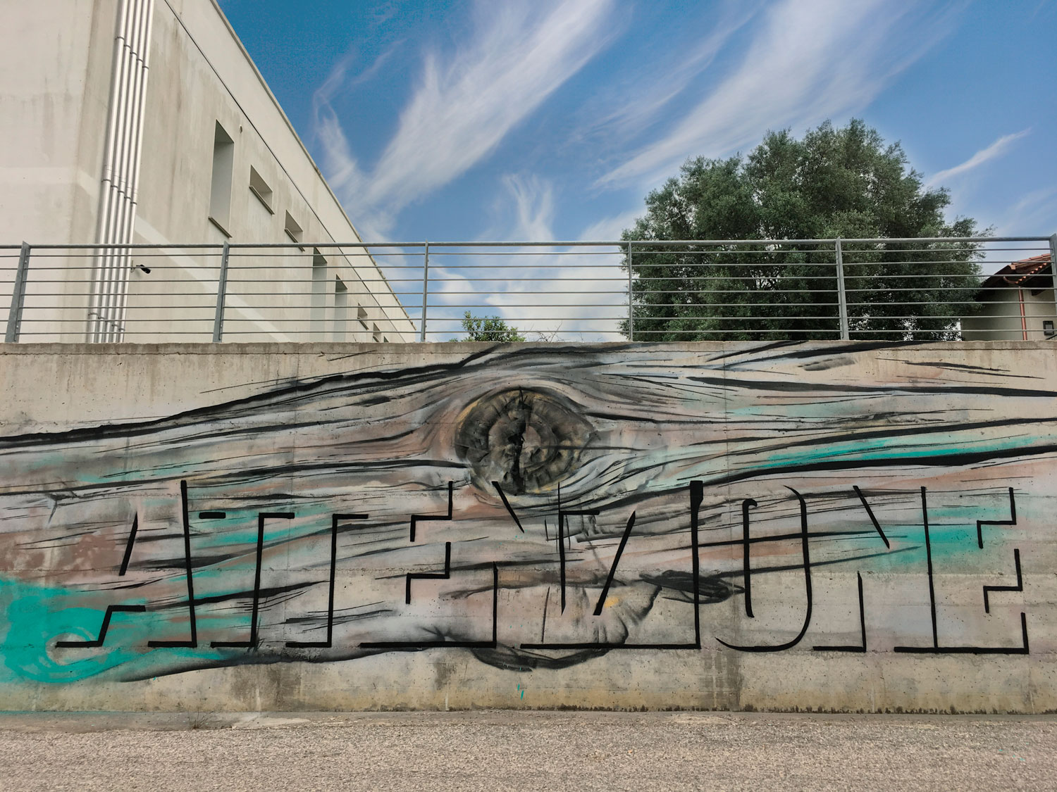 ''ATTENZIONE'' Spray on wall 2,5 x 7,5 m Villa Verde 2018