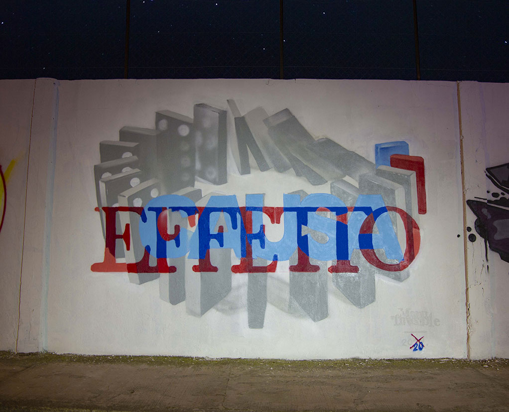 ''Causa/Effetto'' Quartz and spray paint on wall 4,0 x 3,0 m Quartu S. Elena 2020