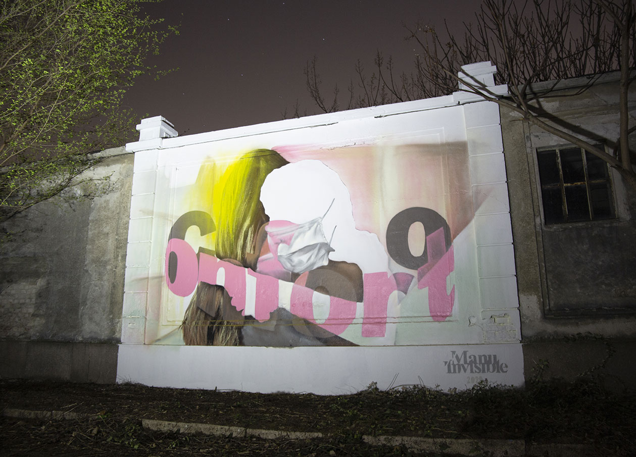 ''Conforto'' Spray and quartz paint on wall 4 x 7 m Milano (Covid 19 tribute) 2020