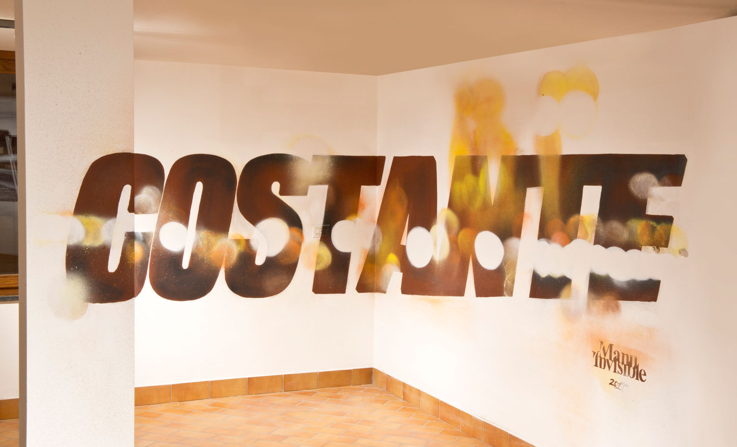 ''Costante'' Spray and quartz paint on wall 2,0x5,0 m- Segrate [MI] 2017