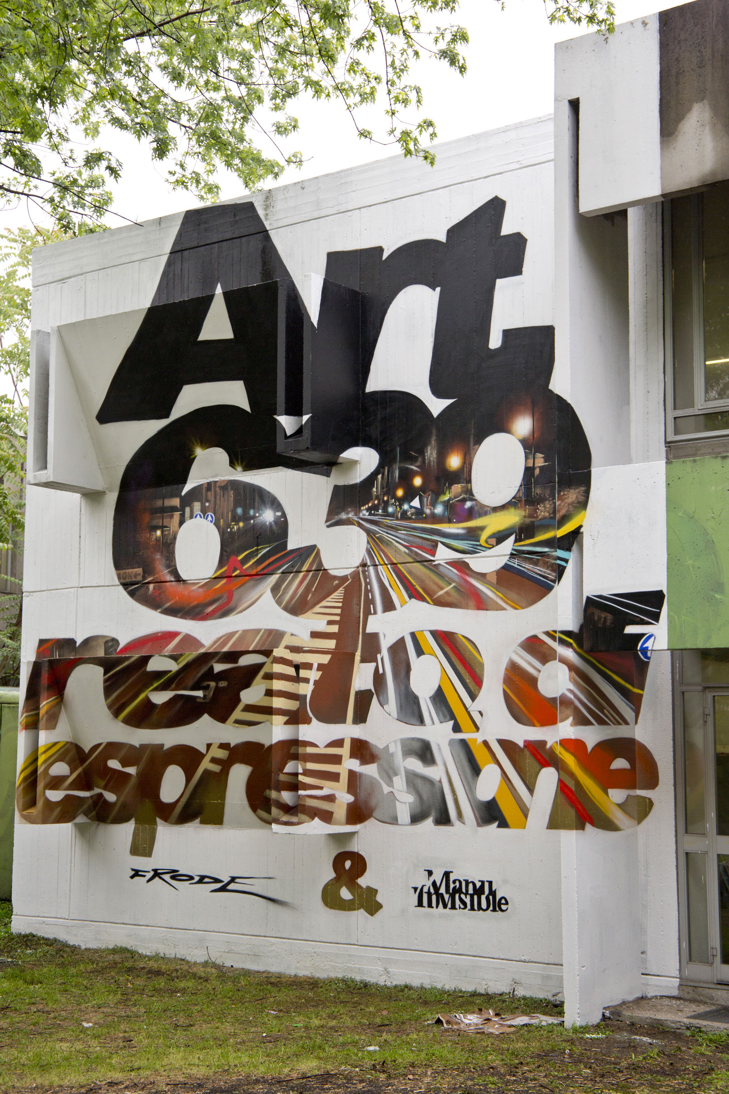 ''Art. 639 reato di espressione'' Spray and quartz paint on wall 8x6,5 m Anamorphism Feat. Frode Meeting of styles Milano 2017