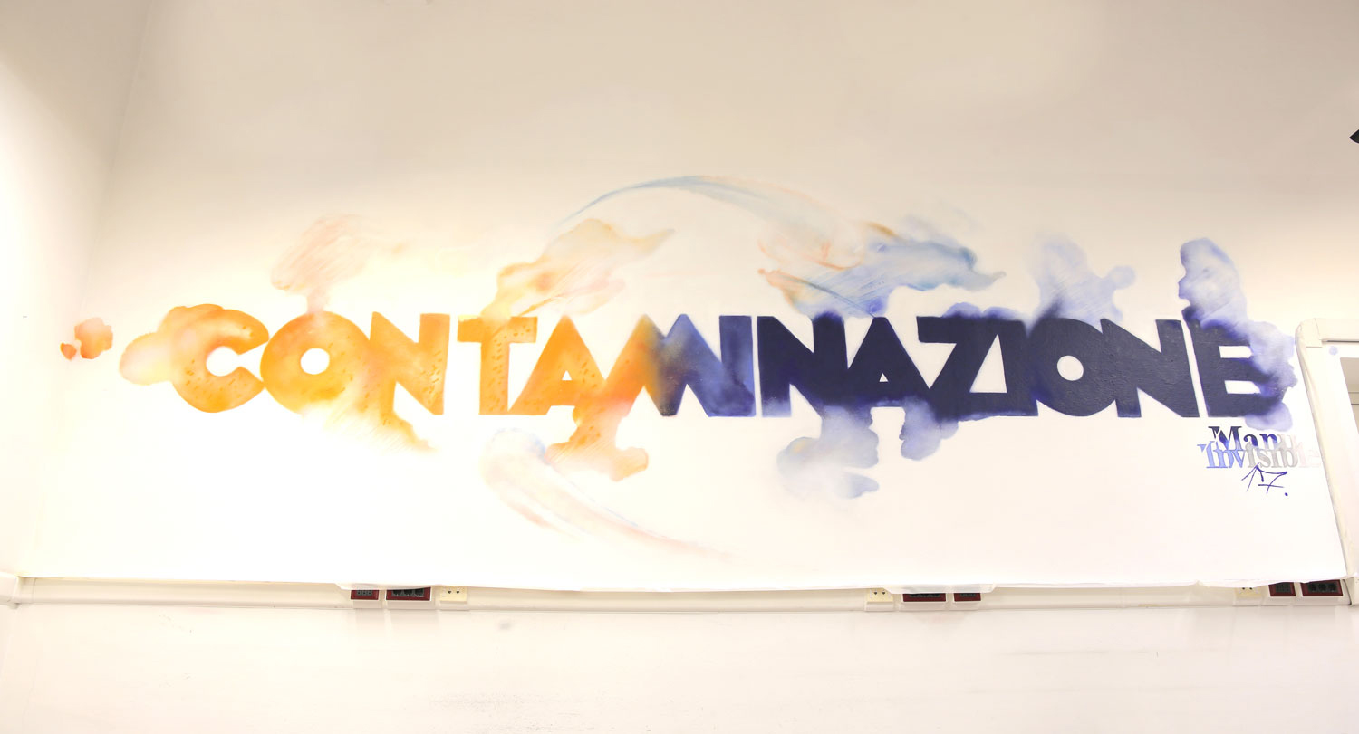 ''Contaminazione'' Spray on wall 3x5m Cagliari University 2017