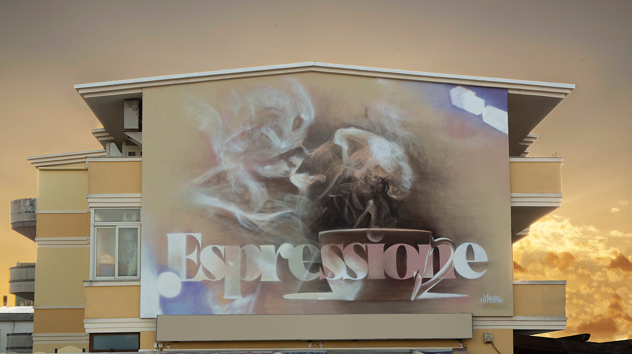 ''Espressione'' Spray and quartz paint on wall 4,5 x 5,5 m Quartucciu 2020