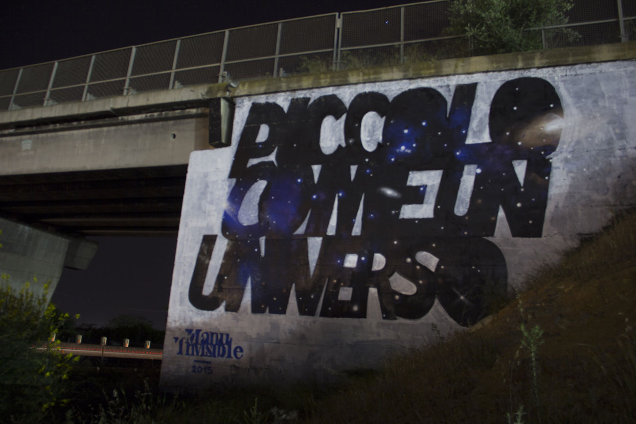 ''Piccolo come un universo'' Spray and quartz paint on wall 8 x 12 m Cagliari 2015