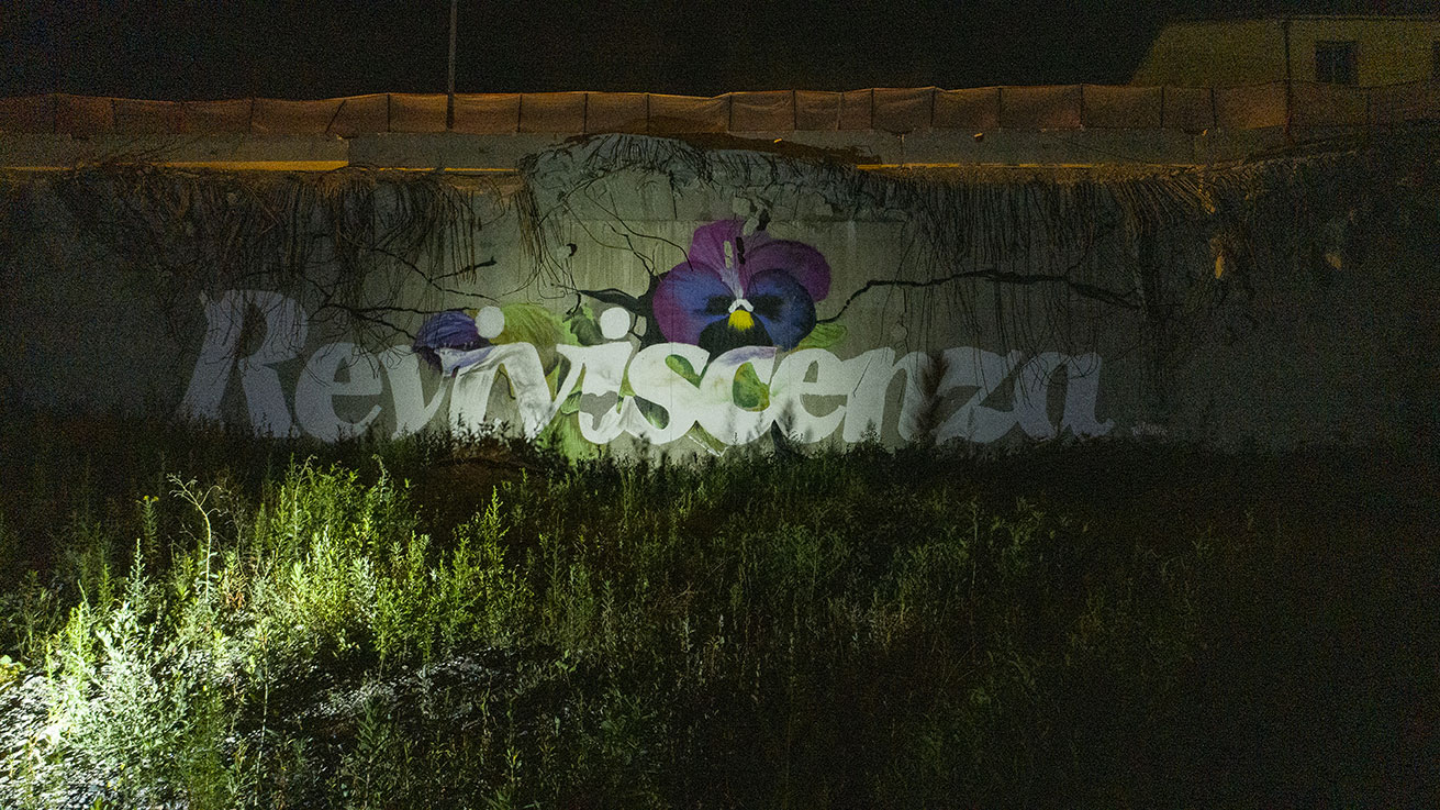 ''Reviviscenza'' Spray and quartz paint on wall 6 x 18,5 m Ponte Morandi Genova 2019
