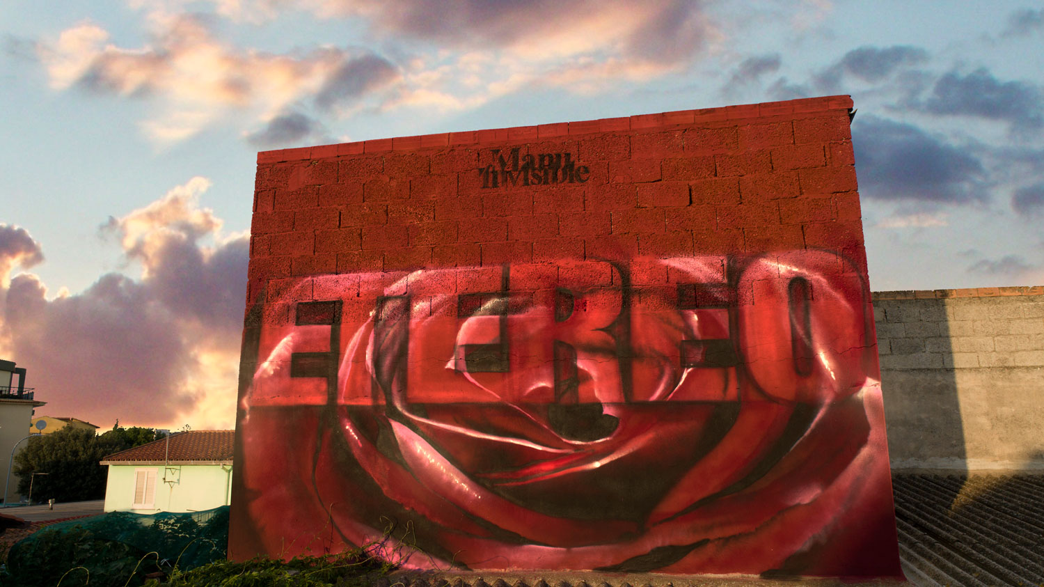 ''Etereo'' Quartz and spray paint on wall 3 x 4 m San Sperate 2018